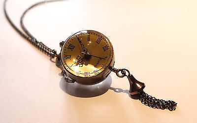 Vintage Tassel Ball Necklace-Alice-Antique Bronze Jewellery-Globe Pocket Watch