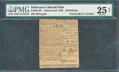 FR DE-30 BEN FRANKLIN DELAWARE COLONIAL NOTE 2-28-1746 FINEST KNOWN WL1829 KEY