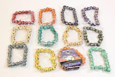NEW Wholesale Job Lot 12 Pcs Fashion Jewellery Wooden Buddha Beads Bracelets