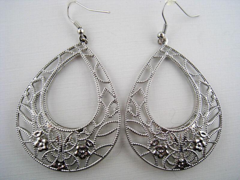 Vintage Style Dangling Silvertone Filigree Flower Teardrop Hoop Earrings