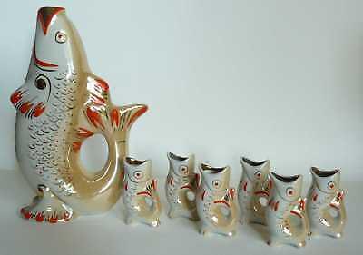 Russian Porcelain Decanter CARP w/ 6 Small Carps Set