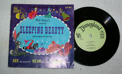 """1957 RARE DISNEY """"SLEEPING BEAUTY"""" BOOK W/RECORD THAT READS BOOK & HAS SONGS"""