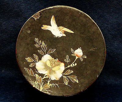 ANTIQUE ROUND HAND PAINTED JAPANESE WOODEN  LACQUER  BOX  BIRD 7 FLOWERS