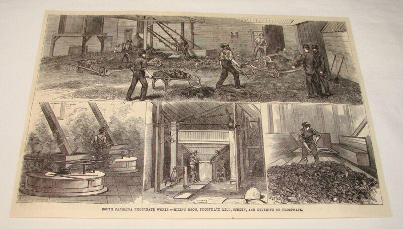 1880 magazine engraving ~ SOUTH CAROLINA PHOSPHATE WORKS