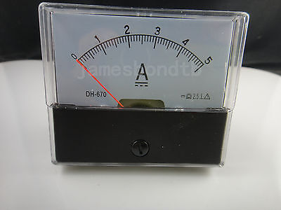 Analog Amp Panel Meter Current Ammeter Dh-670 Dc 0-5a 5a