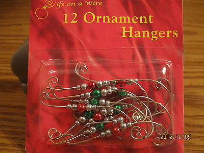 Christmas Tree Ornament Hangers/Hook! Silver w/Colored Beads~Buy 5 get one FREE! (Christmas Ornament Hooks)