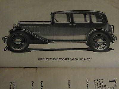 Austin Four Light - Austin Light Twelve-Four or 12-4 original 1933 HANDBOOK 56 pg illust'd FREE POST