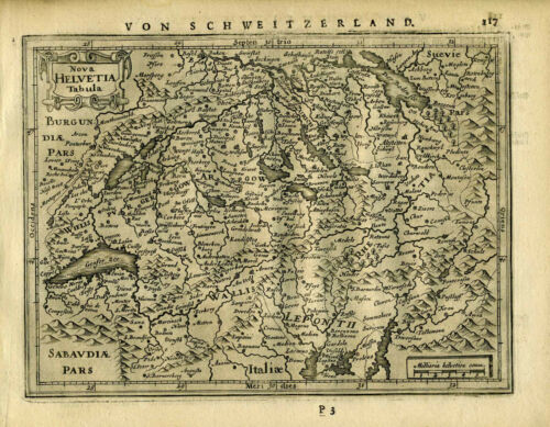 1651 Genuine Antique map of Switzerland. Mercator/Jansson