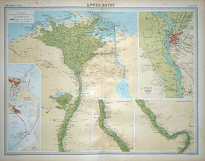 1920 LARGE MAP ~ LOWER EGYPT ~ ENVIRONS OF CAIRO WITH PORT SAID SUEZ ~ 23