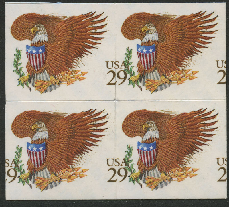 """#2595 Var """"eagle & Shield"""" Mint Block Of 4 With Die Cutting Shift Error Bl2199"""