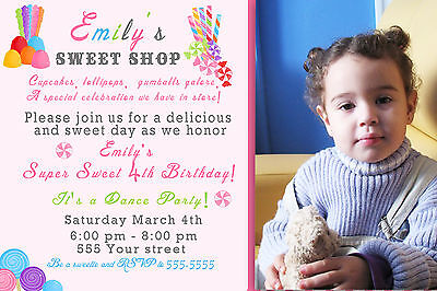 30 Invitations Candy Birthday Party Invite Photo Card Pink Lollipop Sweet A1