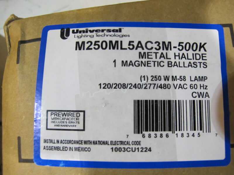 Universal M250ML5AC3M-500K,  250 Watt M58 Metal Halide Ballast,MULTI TAP, NEW