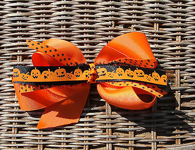 Orange Pumpkins Halloween Fall Hair Bow for Girl's](Halloween Fall Hair Bows)