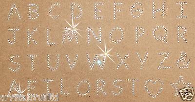 small Alphabet letter SHEET AB iron-on RHINESTONE diamante TSHIRT TRANSFER PATCH