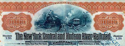 $10,000 New York Central & Hudson River Railroad Company Bond Stock Certificate