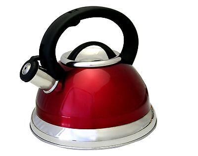 3 Quart Whistling Tea Kettle (Red Stainless Steel 3-quart qt 2.8 Liter Whistling Tea Kettle Capsule Base)