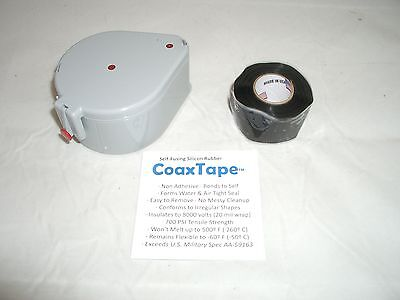 Coax Tape Dispenser With 20milx1x10 Black Self-fusing Silicone Cable Wrap Seal