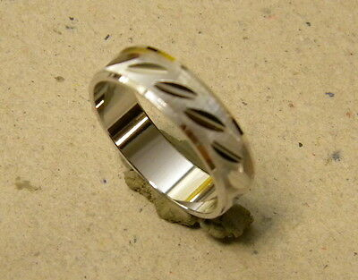 Men's Rhodium Plated Fancy Fashion Ring Band Size 10.75 Unisex 6mm Wide New