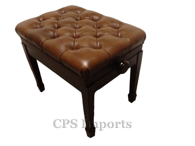 GENUINE LEATHER Walnut High Polish Adjustable Artist Piano Bench/Stool/Chair