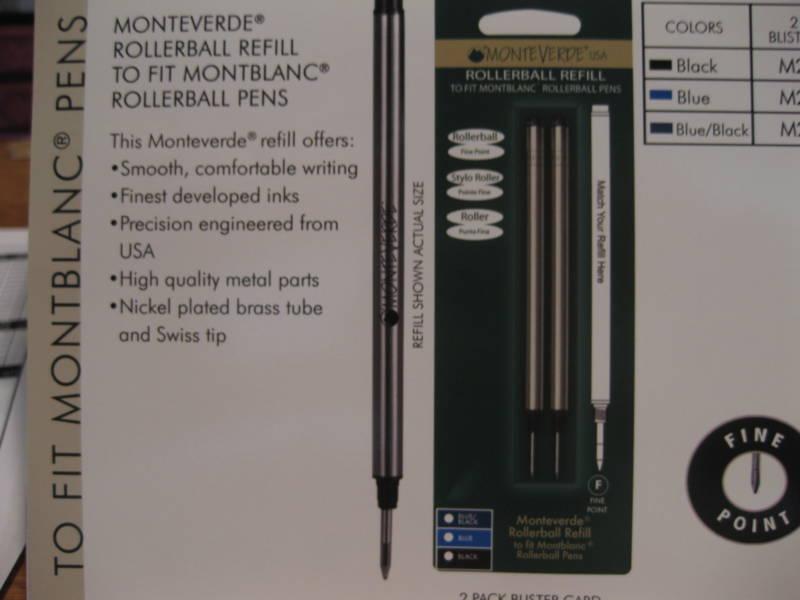 2 BLACK FINE ROLLERBALL REFILL-FIT MONTBLANC PEN from MONTEVERDE