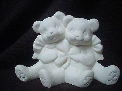 "C362- Ceramic Bisque 4.5"" X  6.5"" Irish Cuddle Bears w/ Shamrock-Ready to Paint"