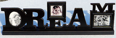 DREAM FREE STANDING WOOD PHOTO FRAME Black Cut out Letters 3x3 & 3x4 photo size ()