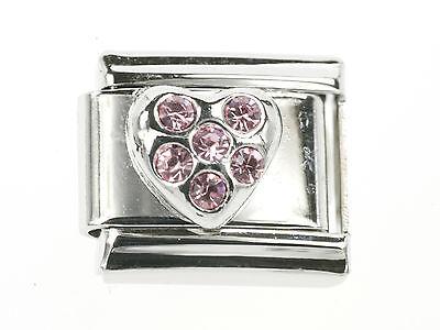 Herz mit 6 Rosen Steinen Silberfarbig Italian Charms passend für Nomination NEU
