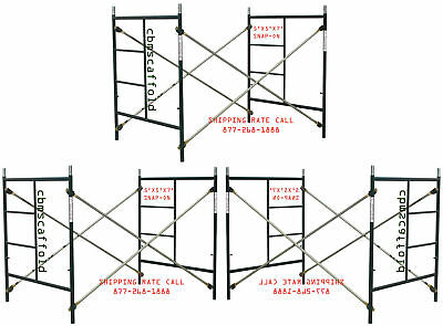 3 Scaffolding Masonry Frame Sets 5' X 5'X 7' Snap On Cross Braces & Coupling Pin