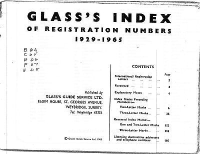 Glass's Index of Registration Numbers 1929 - 1965