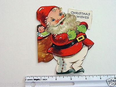#D813- Vintage Unused Gibson Die Cut Greeting Card Great Jolly Santa & Baby Doll