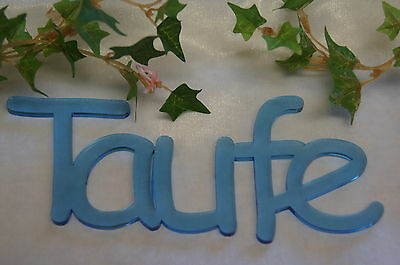 Geburt Taufe Junge  Schriftzug hell blau (Blau Taufe Dekorationen)