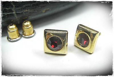 Neu OHRSTECKER mit STRASSSTEINE in siam/rot/dunkelrot OHRRINGE goldfarben