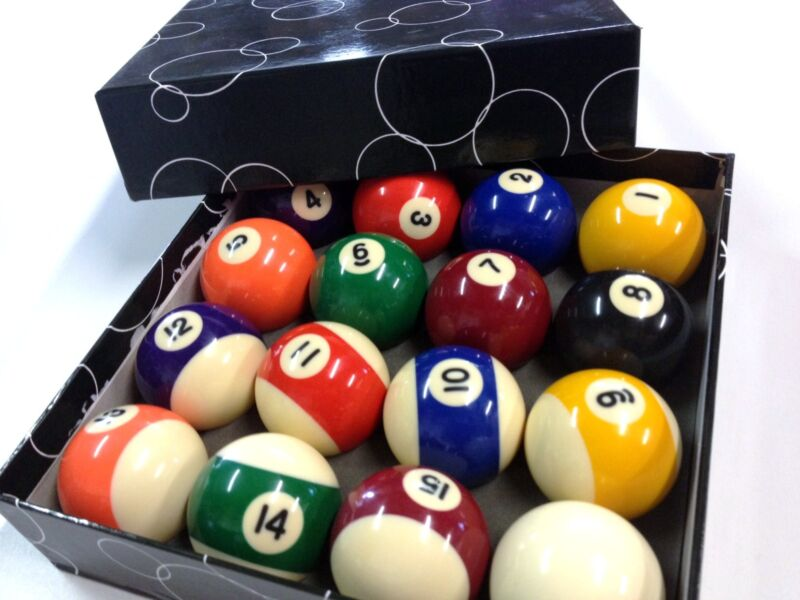 """BRAND NEW 1 & 7/8"""" Inch Pool Billiards Balls Box Set of 16 for Pool Table"""
