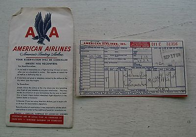 American Airlines Boarding Pass   Ticket Dated 1954