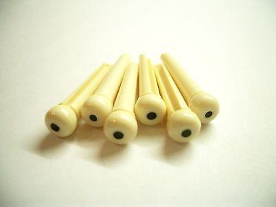 6 Allparts Bridge Pins Stöcker crème mit Dot