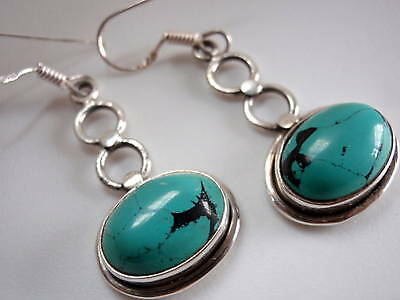 9ct Turquoise Ovals under Figure-8 925 Silver Earrings