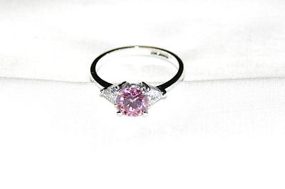 Sterling Silver Ring ~ June Birthstone ~ Pink Ice CZ~Round Brilliant~Cheap Ship