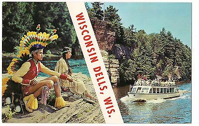 Native American Indians, River Boat WISCONSIN DELLS  WI Name Band POSTCARD