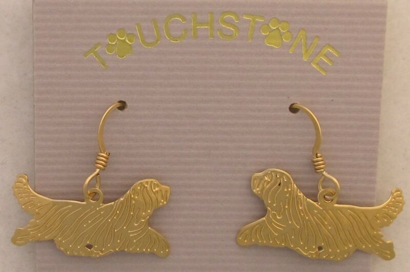 Bearded Collie Jewelry Gold Dangle Earrings