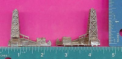 4 wholesale lead free pewter oil rig figurines F6052