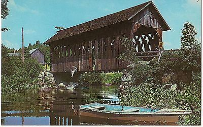 Swimming Hole Boat COVERED BRIDGE Black Water ANDOVER NEW HAMPSHIRE Postcard NH