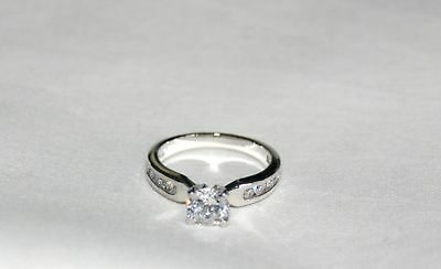 New Sterling Silver  CZ Solitaire Ring ~Round Brilliant Cut~ Engagement Promise (Brilliant Cut Silver Ring)