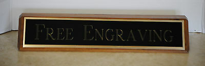 Desk Name Plate Walnut Base Colored Brass Plate With Gold Aluminum Back