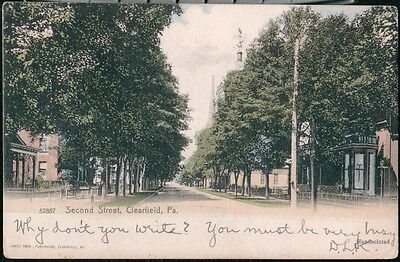 Clearfield Pa Second Street Antique Town View Old Pennsylvania Postcard Vtg Udb