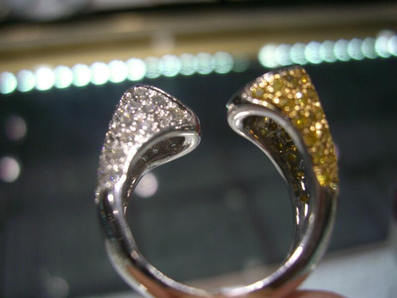 Wow Diamond Ring 18 Karat Two Tone! Canary Yellow And White Diamonds 3.30 Carats