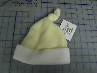 baby infant turtle fur fleece yellow white knot top hat beanie small medium Turtle Fur Fleece