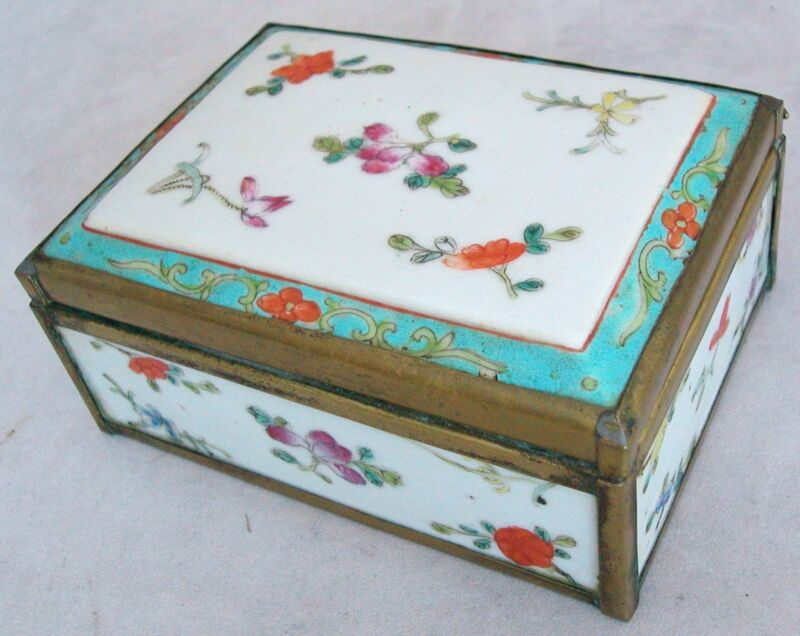 """Antique Chinese Famille Rose Porcelain & Brass Box with Hinged Lid  (4.75"""")"""