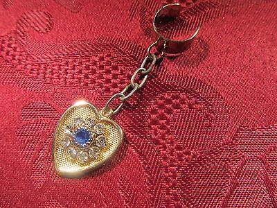 Blue Crystal Ear Cuff (Blue Crystal Heart Dangle Charm Ear)