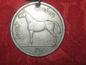 ANTIQUE CELTIC IRISH COIN PENDANT NECKLACE SILVER  HORSE HARP IRELAND JEWELRY