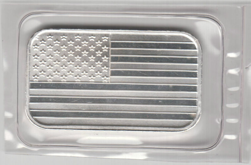 The USA Stars and Stripes American Flag one troy ounce silver bar